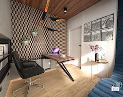 Projekt willi 300 m2 cz. III / Bochnia - Średnie beżowe czarne białe biuro domowe kącik do pracy w pokoju, styl nowoczesny - zdjęcie od BIG IDEA studio projektowe