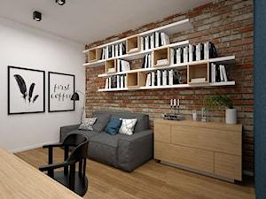 Projekt mieszkania 85 m2 / Kraków - Średnie brązowe białe biuro kącik do pracy w pokoju, styl skandynawski - zdjęcie od BIG IDEA studio projektowe