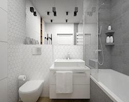 Projekt łazienki 5 m2 / Kraków - Mała biała szara łazienka w bloku w domu jednorodzinnym bez okna, styl minimalistyczny - zdjęcie od BIG IDEA studio projektowe