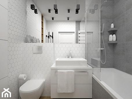 Aranżacje wnętrz - Łazienka: Projekt łazienki 5 m2 / Kraków - Mała biała szara łazienka w bloku w domu jednorodzinnym bez okna, ... - BIG IDEA studio projektowe. Przeglądaj, dodawaj i zapisuj najlepsze zdjęcia, pomysły i inspiracje designerskie. W bazie mamy już prawie milion fotografii!