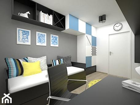 Aranżacje wnętrz - Pokój dziecka: Projekt pokoju dla dziecka 17 m2 / Bochnia - Średni biały szary niebieski pokój dziecka dla chłopca ... - BIG IDEA studio projektowe. Przeglądaj, dodawaj i zapisuj najlepsze zdjęcia, pomysły i inspiracje designerskie. W bazie mamy już prawie milion fotografii!