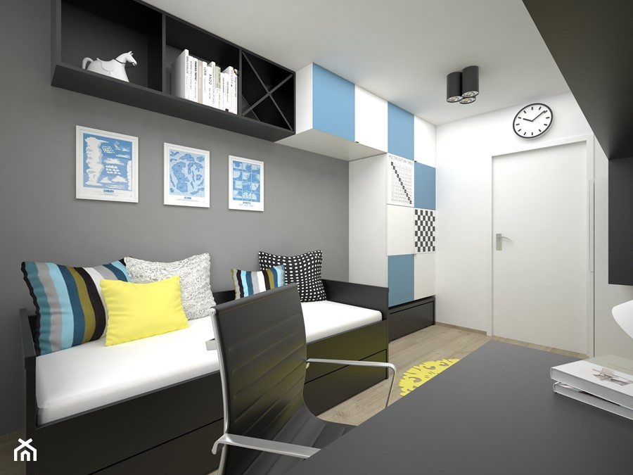 Projekt pokoju dla dziecka 17 m2 / Bochnia - Średni biały szary niebieski pokój dziecka dla chłopca dla dziewczynki dla ucznia dla nastolatka, styl minimalistyczny - zdjęcie od BIG IDEA studio projektowe