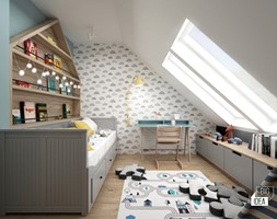 Projekt domu 107,52 m2 / Wieliczka - Średni biały szary pokój dziecka dla chłopca dla dziewczynki dla ucznia dla malucha, styl skandynawski - zdjęcie od BIG IDEA studio projektowe - Homebook