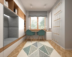 Projekt mieszkania 30 m2 / Kraków - Mały szary pokój dziecka dla chłopca dla dziewczynki dla ucznia dla nastolatka, styl nowoczesny - zdjęcie od BIG IDEA studio projektowe