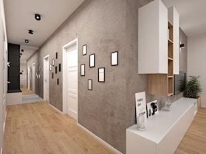 Projekt mieszkania 60 m2 / Kraków - Duży szary hol / przedpokój, styl minimalistyczny - zdjęcie od BIG IDEA studio projektowe