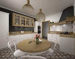 Projekt kuchni 21 m2 / Bochnia - Duża otwarta biała czarna kuchnia dwurzędowa, styl rustykalny - zdjęcie od BIG IDEA studio projektowe