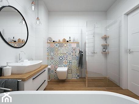Aranżacje wnętrz - Łazienka: Projekt domu 90 m2 / Kraków - Duża biała kolorowa łazienka w bloku w domu jednorodzinnym bez okna, styl eklektyczny - BIG IDEA studio projektowe. Przeglądaj, dodawaj i zapisuj najlepsze zdjęcia, pomysły i inspiracje designerskie. W bazie mamy już prawie milion fotografii!