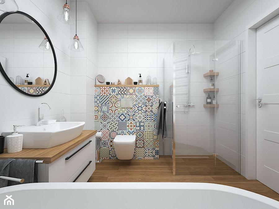 Projekt domu 90 m2 / Kraków - Duża biała kolorowa łazienka w bloku w domu jednorodzinnym bez okna, styl eklektyczny - zdjęcie od BIG IDEA studio projektowe