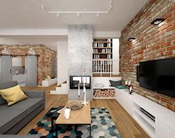 Projekt mieszkania 85 m2 / Kraków - Duży salon z bibiloteczką, styl skandynawski - zdjęcie od BIG IDEA studio projektowe - Homebook