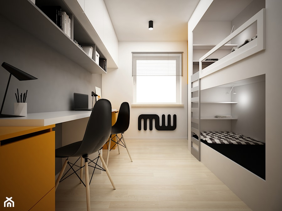 Projekt pokoju dla nastolatków 9m2 / Kraków - Średni biały szary pokój dziecka dla chłopca dla rodzeństwa dla nastolatka - zdjęcie od BIG IDEA studio projektowe