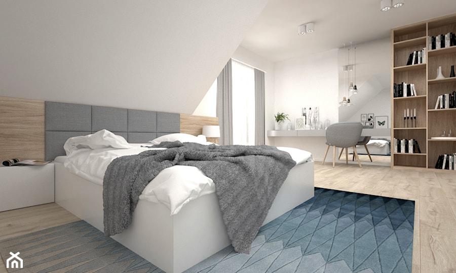 Projekt poddasza 45 m2 / Jabłonka - Duża biała sypialnia dla gości małżeńska na poddaszu, styl skandynawski - zdjęcie od BIG IDEA studio projektowe