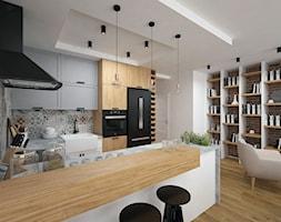 Projekt domu 90 m2 / Kraków - Duża otwarta kolorowa kuchnia w kształcie litery g w aneksie, styl eklektyczny - zdjęcie od BIG IDEA studio projektowe