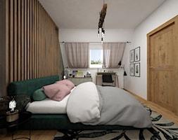 Projekt sypialni 15 m2 / Nowy Targ - Średnia biała szara sypialnia małżeńska na poddaszu, styl industrialny - zdjęcie od BIG IDEA studio projektowe