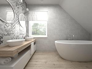 Projekt poddasza 45 m2 / Jabłonka - Średnia łazienka na poddaszu w domu jednorodzinnym z oknem, styl skandynawski - zdjęcie od BIG IDEA studio projektowe