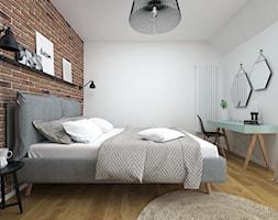 Projekt domu 90 m2 / Kraków - Średnia biała sypialnia małżeńska na poddaszu, styl eklektyczny - zdjęcie od BIG IDEA studio projektowe - Homebook
