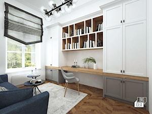 Projekt mieszkania w kamienicy 90 m2 / Kraków - Średnie białe biuro kącik do pracy w pokoju, styl eklektyczny - zdjęcie od BIG IDEA studio projektowe