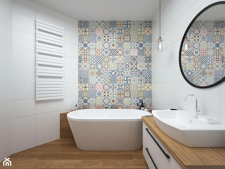 Projekt domu 90 m2 / Kraków - Średnia biała kolorowa łazienka bez okna, styl eklektyczny - zdjęcie od BIG IDEA studio projektowe