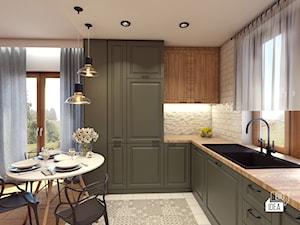 Projekt domu 45 m2 / Bochnia - Średnia otwarta szara kuchnia w kształcie litery l z oknem, styl eklektyczny - zdjęcie od BIG IDEA studio projektowe