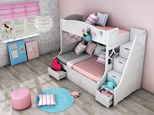 Białe łóżko piętrowe dla dzieci ze schodkami i szufladkami Elies - zdjęcie od Elies.pl
