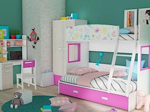 Łóżko piętrowe dla dziewczynek kwiatki różowe - zdjęcie od Elies.pl