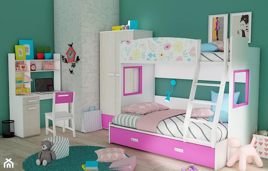łóżko Piętrowe Dla Dziewczynek Kwiatki Różowe Zdjęcie Od