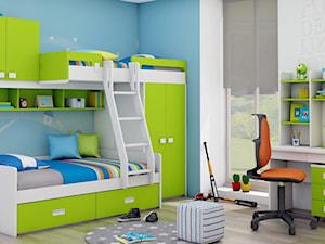 Łóżko piętrowe dla dzieci z szafą, półkami, regałem, szufladami i drabinką. - zdjęcie od Elies.pl