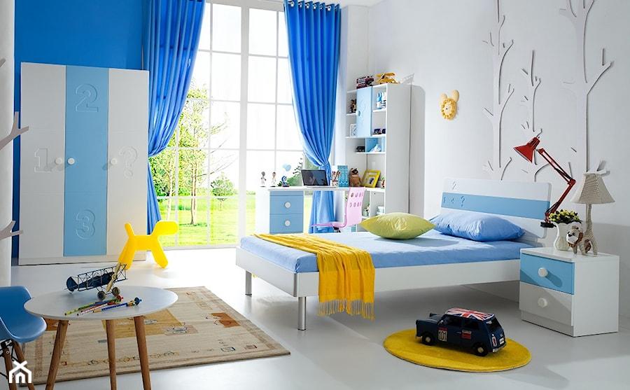 pok j dla ch opca meble bia o niebieskie zdj cie od. Black Bedroom Furniture Sets. Home Design Ideas