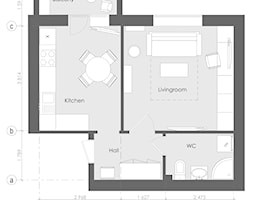 Rzut mieszkania na wynajem w skandynawskim stylu - zdjęcie od Alina Shevchenko Interiors - Homebook