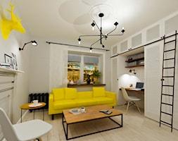 Salon w stylu skandynawskim, biały, zółty, czarny - zdjęcie od Alina Shevchenko Interiors - Homebook