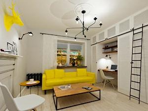 Mieszkanie kawalerka na wynajem - styl skandynawski, salon biały, żółty, czarny