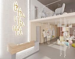 Aranżacja wnętrza biura wydawnictwa książek dziecięcych - Duże beżowe białe biuro pracownia w pokoju, styl minimalistyczny - zdjęcie od Alina Shevchenko Interiors