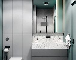 Łazienka w minimalistycznym stylu, butelkowa zieleń, terrazzo, szarości - zdjęcie od Alina Shevchenko Interiors - Homebook
