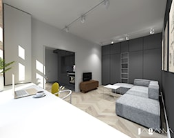 Mieszkanie w starej kamienicy - Średni szary czarny salon, styl eklektyczny - zdjęcie od magda jagannathan pracownia projektowa JAGANNA