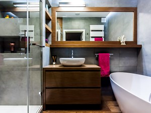 APARTAMENT NAD MORZEM - Średnia szara łazienka w bloku bez okna, styl vintage - zdjęcie od STUDIO FORMA