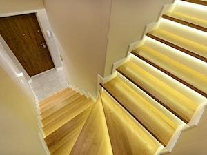 DOM RODZINNY PRUSZCZ GDAŃSKI - Średnie wąskie schody wachlarzowe drewniane, styl nowoczesny - zdjęcie od STUDIO FORMA