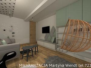 DOM 150m2 - Średni biały salon z bibiloteczką - zdjęcie od Wendt Wnętrza Martyna Wendt