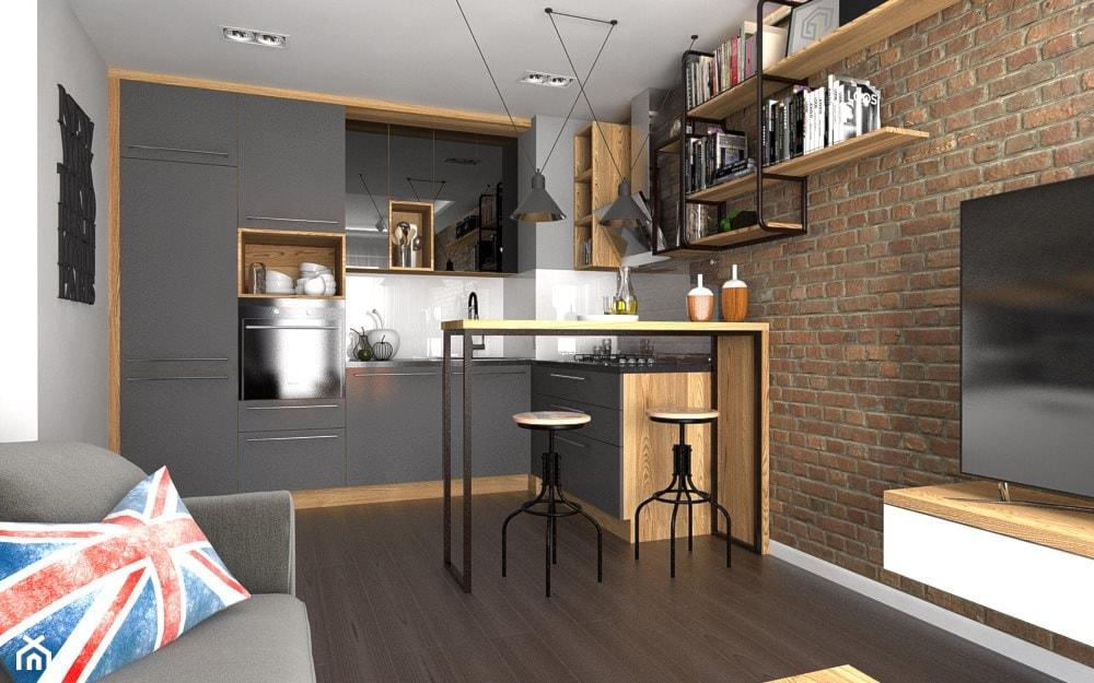 Industrialny salon z kuchnią - zdjęcie od Malee - Projektowanie z pasją - Homebook