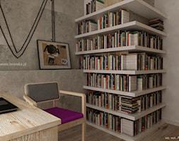 Gabinet - Średnie szare białe biuro domowe w pokoju, styl tradycyjny - zdjęcie od KI design Katarzyna Iwańska
