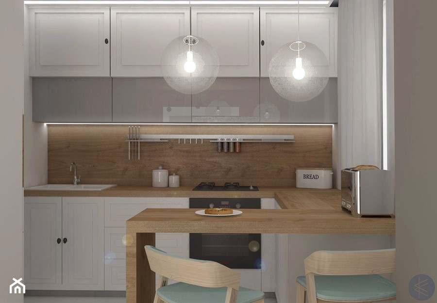 SKANDYNAWSKA KUCHNIA. - Średnia otwarta biała kuchnia w kształcie litery u z oknem, styl skandynawski - zdjęcie od KWojciechowska Studio