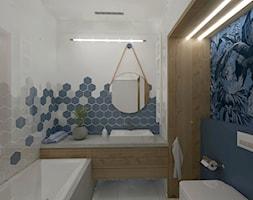 Łazienka z elementami granatu. - zdjęcie od KWojciechowska Studio