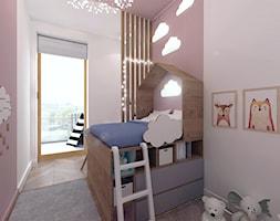 NIEBIESKI ŻOLIBORZ. - Mały szary różowy pokój dziecka dla chłopca dla dziewczynki dla malucha, styl skandynawski - zdjęcie od KWojciechowska Studio