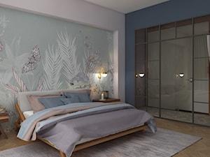 MAGICZNA SYPIALNIA. - Średnia biała niebieska sypialnia małżeńska, styl art deco - zdjęcie od KWojciechowska Studio