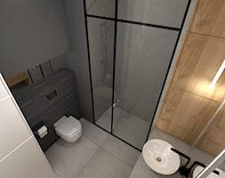 MĘSKI MINIMALIZM. - Mała szara łazienka w bloku w domu jednorodzinnym bez okna, styl minimalistyczny - zdjęcie od KWojciechowska Studio