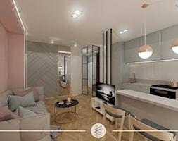 PASTELOWY APARTAMENT. - Mały biały różowy salon z kuchnią z jadalnią, styl nowoczesny - zdjęcie od KWojciechowska Studio