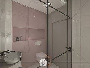 PASTELOWY APARTAMENT. - Mała łazienka w bloku w domu jednorodzinnym bez okna, styl glamour - zdjęcie od KWojciechowska Studio
