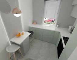 DĘBOWA WOLA. - Mała zamknięta biała kuchnia w kształcie litery l z oknem, styl skandynawski - zdjęcie od KWojciechowska Studio