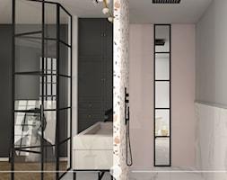 KLASYCZNA ELEGANCJA. - Średnia czarna szara różowa łazienka w bloku w domu jednorodzinnym bez okna, styl klasyczny - zdjęcie od KWojciechowska Studio