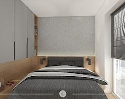 ANTRACYTOWA ELEGANCJA. - Mała beżowa biała szara sypialnia małżeńska z balkonem / tarasem, styl skandynawski - zdjęcie od KWojciechowska Studio