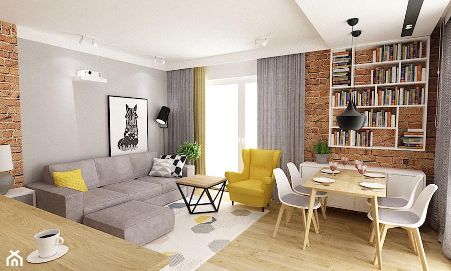 mieszkanie 50m2 w warszawie - Mały szary salon z bibiloteczką z jadalnią z tarasem / balkonem, styl skandynawski - zdjęcie od Grafika i Projekt architektura wnętrz