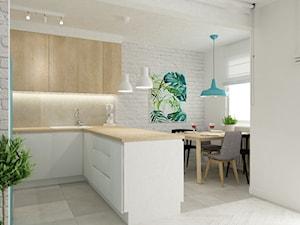 mieszkanie z akcentem turkusu metamorfoza - Mała otwarta biała jadalnia w kuchni, styl skandynawski - zdjęcie od Grafika i Projekt architektura wnętrz